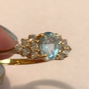 Gorgeous Aquamarine and Dimonique Ring